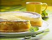 Quick apricot cake, a slice taken