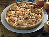 Alsatian apple tart with flaked almonds