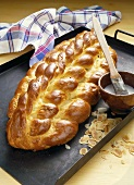 Bohemian bread plait on baking tray