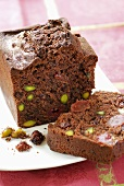 Chocolate cake with pistachios and fruit