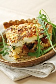 Goat's cheese, leek and olive quiche