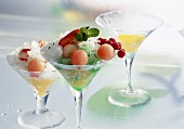 Peppermint granita with melon balls
