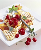 Coconut waffles with sour cherry compote