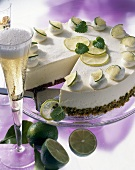 Champagne and lime torte with cream