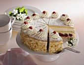 Cheese cream cake with sour cherries
