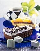 Piece of chocolate marshmallow cake