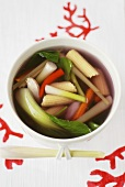 Vegetable soup with baby corncobs, lemon grass & chicken (Asia)