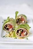 Lettuce and ham rolls