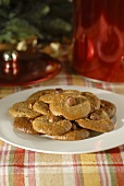 Honey nut biscuits on plate (Christmas)