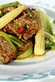 Beef with chard and baby corncobs