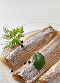 Marinated matjes herrings with herbs and peppercorns