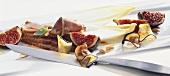 Fig salad with duck breast and aubergine crisps