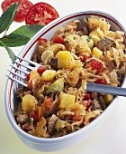 Sauerkraut, pork, tomato and potato ragout