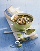 Alsatian lentil soup with sausage and leeks