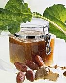 Rhubarb and ginger jam with dates