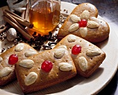 Gingerbread with almonds and glacé cherries