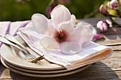 Magnolia on pile of plates with fabric napkin