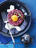 Beef tartare with egg and chive sauce