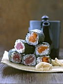 Tuna and salmon maki sushi