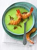 Cold cucumber wasabi soup with deep-fried prawns