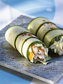 Courgette rolls filled with surimi