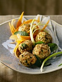 Chicken balls with vegetables and mint