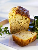 Savoury crab loaf, partly sliced