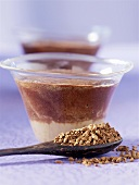Coffee mousse in glass dishes