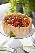 Strawberry cheesecake with lemon balm