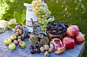 Grapes, pomegranates, sweet chestnuts, apples and nuts
