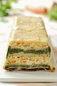 Potato, carrot and spinach terrine