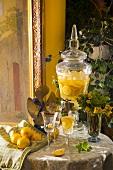 Lemonade in glass and carafe