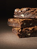Three brownies, in a pile