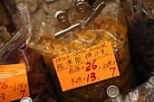 Dried lemon ginger on a market stall in Hong Kong, China