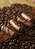 Coffee truffles on coffee beans