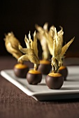 Several chocolate-coated physalis