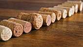 Various corks in a row