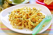 Ribbon pasta with pumpkin sauce for children