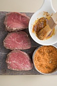 Beef steaks and spicy marinade