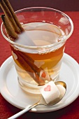 Glass of winter tea with cinnamon sticks, sugar cube on spoon