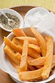 Sweet potato chips with salt and pepper