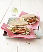 Turkey ham sandwiches in wholemeal bread