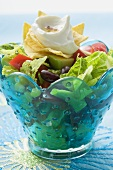Mexican salad with nachos and sour cream