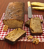 Banana and walnut loaf, partly sliced