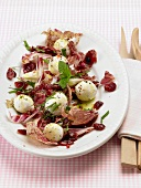 Radicchio salad with goat's cheese balls and cranberries