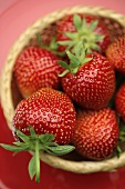 Fresh strawberries in a basket (overhead view)