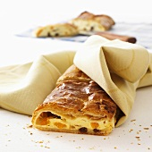 Quark strudel made with puff pastry