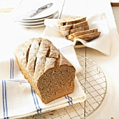 Three grain bread with slices cut