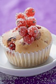 Redcurrant muffin with sugared redcurrants