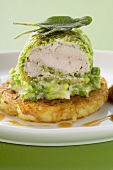Pheasant roulade in savoy cabbage leaf with rösti and sage